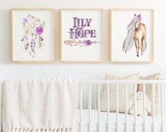 PERSONALIZED Dream Catcher Watercolor Print Set Wildflower Baby Girl Nursery Digital Download Rustic Romance Lavender Purple Mint