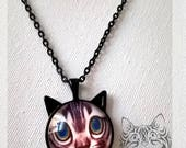 "collier pendentif cabochon ""chat"" 2"