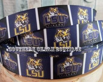 "3 yards 7/8"" LSU Tigers grosgrain ribbon"