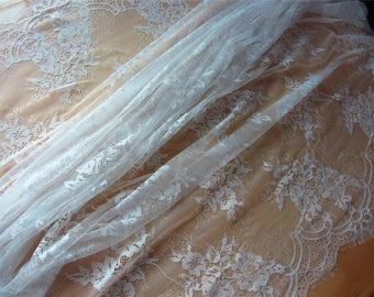 "Chantilly Eyelash Lace Fabric in white  for Wedding Gowns, 1yard/3Yards*59"" white eyelash lace fabric  , black eyelash lace fabric-LSM3L0103"