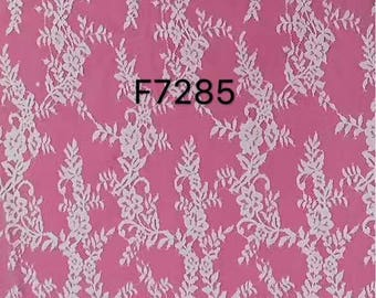 "Eyelash leaves Lace Fabric sell by yard ,off  White Chantilly Lace fabric  for wedding 59"" width-7285"