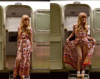 S/M 1970s Country Fair Bodysuit and Skirt Two Piece Set