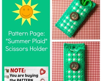 "Plastic Canvas Pattern Pages: ""Summer Plaid"" Scissors Holder (front/back design, graphs and photos, no written instructions) *PATTERN ONLY!*"