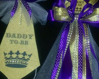 Mommy and Daddy Baby shower corsage and tie set gold and Purple Princess crown