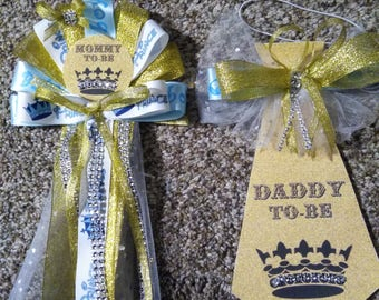 prince baby shower mommy and daddy corsage and tie set