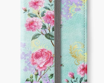 Folio Wallet Case for iPhone 8 Plus, iPhone 8, iPhone 7, iPhone 6 Plus, iPhone SE, iPhone 6, iPhone 5s - Vintage Floral Design