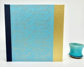 Photo album personalized with Japanese paper, blue and gold wave wedding album, birth, baptism, guestbook, guest book
