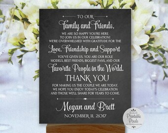 Thank You Note Printable Wedding Sign, Chalkboard Style, Personalized with Names and Date (#TY1C)