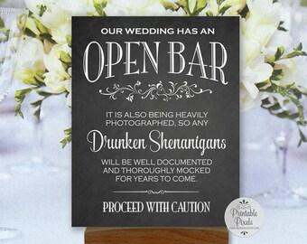 Open Bar Printable Wedding Sign, Chalkboard Style, Funny Bar Sign (#OP13C)