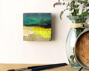 impasto, square painting, abstract landscape, maria maza, knife painting, turquoise painting, yellow painting, ooak, canola field painting