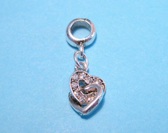 Antique Silver Clear Rhinestone Heart Dangle Pendant Bail charms Pendant