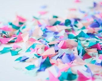 Wildflowers Confetti, Biodegradable Confetti, Pink and Teal Confetti, Birthday Confetti, Summer Wedding Confetti, Baby Shower Confetti