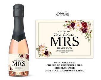 Bridal Shower Mini Champagne Labels | Printable Floral Cheers To The Future Mrs Mini Wine Label With Marsala Burgundy And Pink Flowers