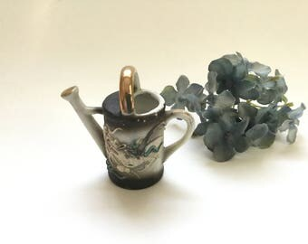 Vintage Watering Can/Ceramic Miniature Watering Can with Asian Dragon/Made in Japan