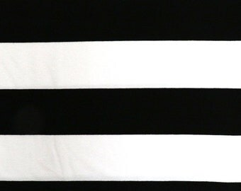 Fabric - Viscose elastane jersey fabric - Black and white wide stripe - knit.