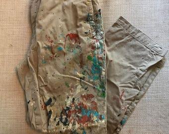 Painter pants etsy for Ralph lauren khaki paint