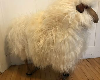 Mid Century Sheep Shearling Bench Stool Carved Wood LaLanne Style Sheep Sculpture Shearling Amimal Farm Animal