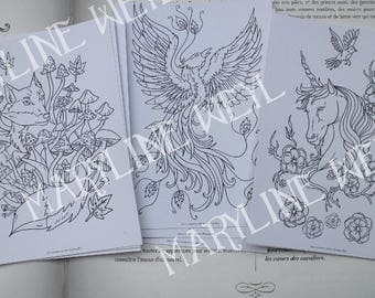 Set of 3 postcards coloring coloring