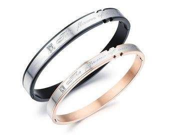 Our Flames of Love (Gold & Black) - Couples Bracelets / His and Hers Bracelets / Engraved Bracelets for Her / Matching Jewelry for Couples