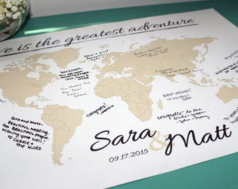 Map guest book etsy wedding guestbook world map print with names date personalized travel map map poster gumiabroncs Choice Image