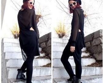 SALE 20% OFF Black Asymmetric Tunic / Asymmetric Black Dress / Black Twisted Tunic / Loose Maxi Top / Black Top Dress Lara TT13