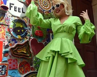SALE 15% OFF Light Green Summer Dress, Extravagant Short Dress, Cotton Dress, Cotton Ruffled Summer Dress, Light Green Dress, Ruffled Dress