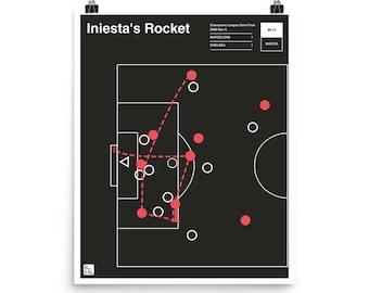 Barcelona Soccer Poster: Iniesta's Rocket (2009)