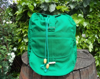 Grass-green canvas backpack