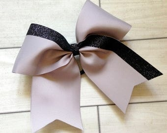 Gray and Black Glitter Cheer Bow - Team Cheer Bows - Custom Cheer Bows