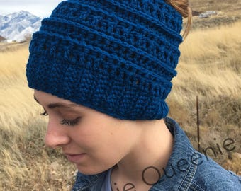 Crochet Messy Bun Beanie/ Ear Warmer