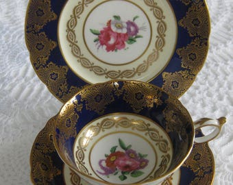ENGLISH PARAGON TRIO, Bone China Cup, Saucer, Plate, Cobalt Blue and Gold