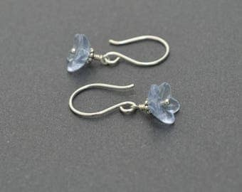 Flower earrings, Blue Earrings, Dangle Earrings, Czech glass earrings