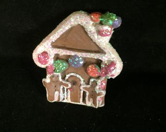 Vintage Gingerbread Cookie plastic frosted house Christmas Pin