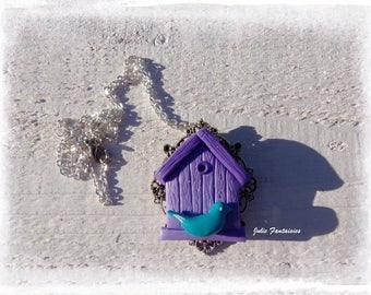 """Birds nest"" necklace Fimo clay"