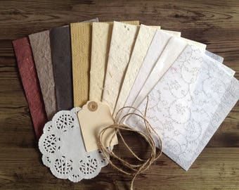 Handmade paper in earthy tones, neutral colours, variety pack, card making kit,
