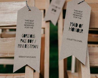 Personalised seating tags