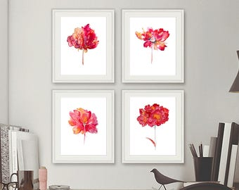 Watercolor flowers print watercolor painting flowers wall decor, floral art print, red wall art , Set of 4 Art Prints - 29A/2/10/50