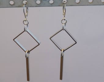 Geometric Long Silver Dangle Earrings