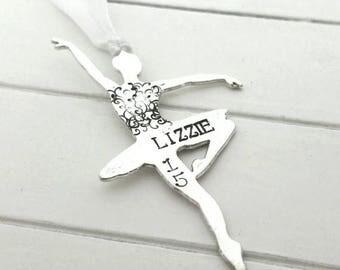 Ballerina ornament,  hand stamped dancer ornament,  ballet ornament
