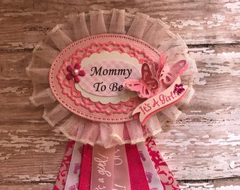 Butterfly Mommy To Be Corsage Tag Pink & white Baby Shower Tag