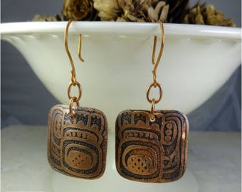 Etched Copper Earrings. Square Tribal Primitive Design Copper Earrings. Boho Earrings. Tribal Earrings. Domed Copper  Earrings
