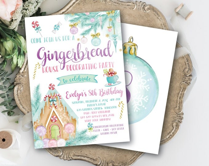 Gingerbread House Decorating Birthday Invitation / Gingerbread Party / Winter / Any Age / Pastel / Watercolor / CANDY FOREST COLLECTION