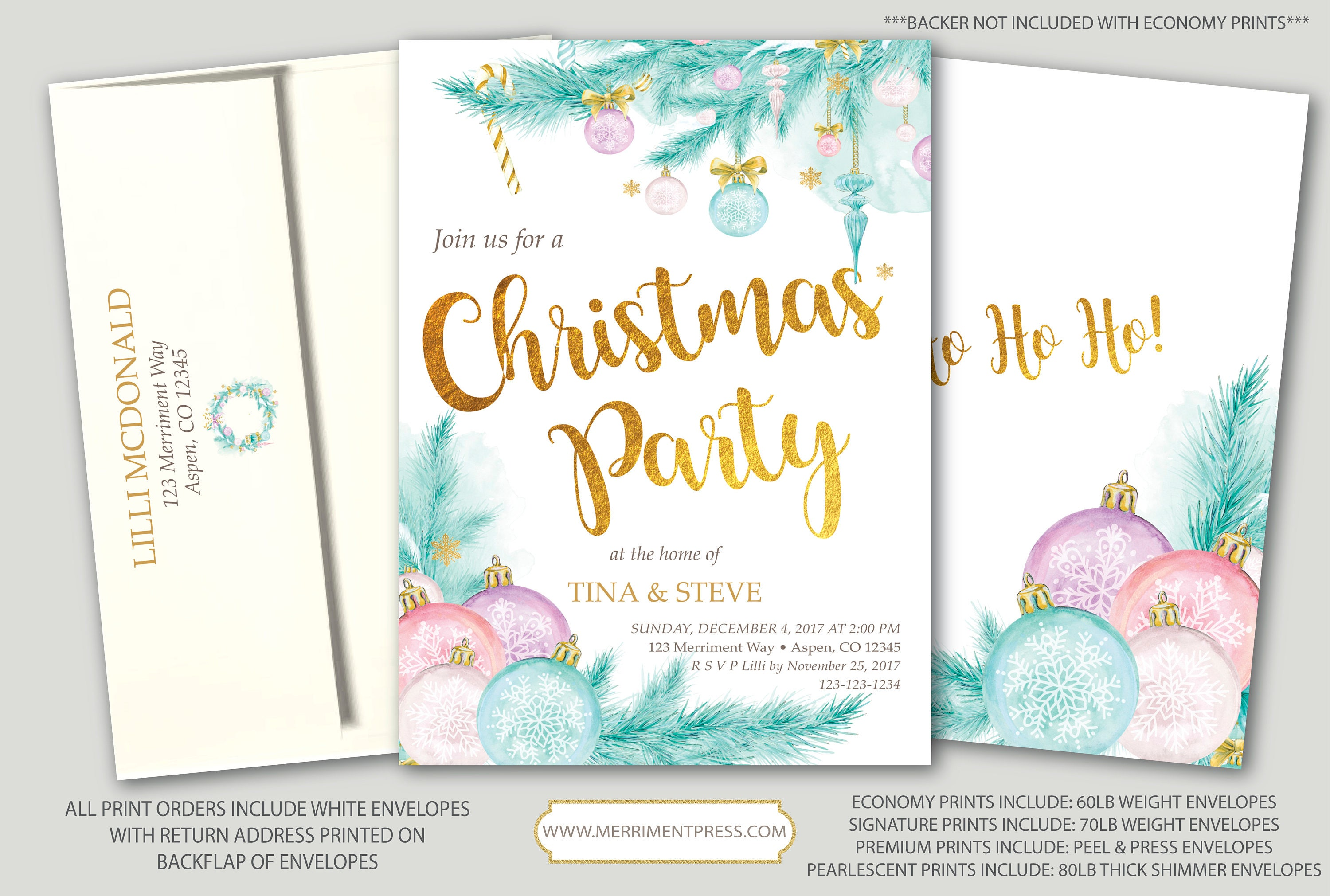 Christmas Party Invitation // Holiday Party // Pine // Ornaments ...