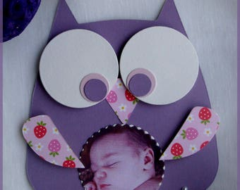 Original baby OWL photo girl invitation pink and purple
