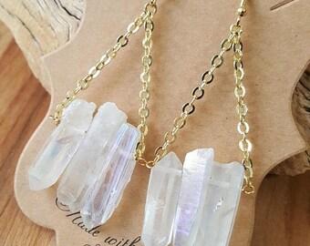 15% OFF SALE Gold Filled Angel Aura Quartz Dangle Earrings / Quartz Earrings / Aura Quartz / Fringe Earrings / Boho Luxe / Stone Earrings /