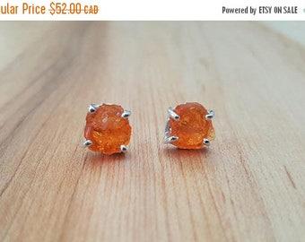 15% OFF SALE Rare Orange Mexican Opal Rough 925 Sterling Silver Stud Earrings / Stone Earrings / Fire Opal / Sterling Earrings / Raw Stone /