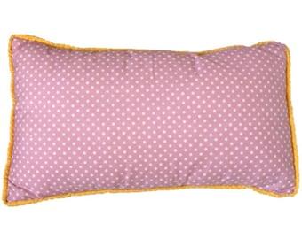 Pink polka dot, cushion cover, yellow dot trim, gray back with white polka dot. trimmed cushion, polka dot cushion, pink cotton cushion.