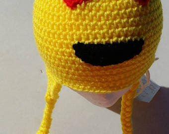 Emoji, hat with braids, crochet hat, handmade hat, emoji hat, crochet hat, OSFM are ready to ship!