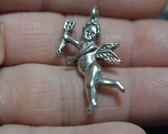 Vintage Metal Double Sided  Cupid Pendant  (2040143)