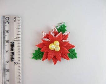 Christmas flower. Natudesign  Clay Charm Bead, Scrapbooking, Bow Center, Pendant, Cupcake topper, Magnet